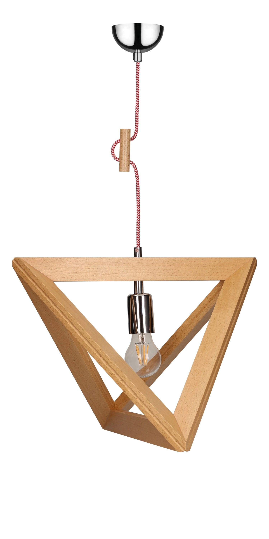 Hanging lamp Trigonon buk / chrome / red and white E27 60W