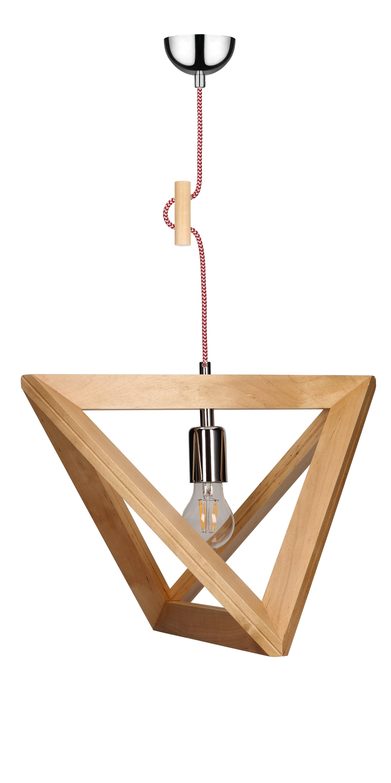 Hanging lamp Trigonon brzoza / chrom / red and white E27 60W