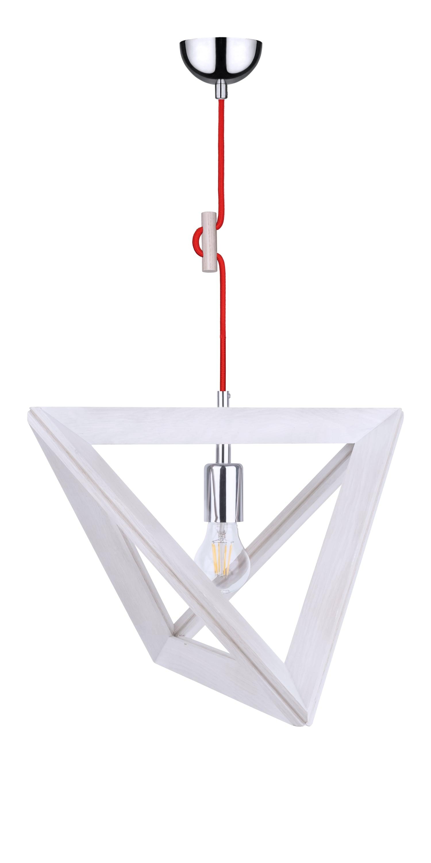 Hanging lamp Trigonon dąb bielony / chrom / red E27 60W