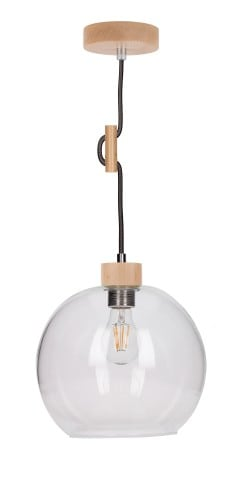 Lampa wisząca Przeźroczysta Svea buk/antracyt E27 60W