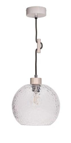Lampa wisząca ze szklanym rozpraszającym kloszem Svea dąb bielony/antracyt E27 60W