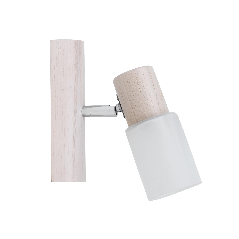 Kinkiet Kira Wood dąb bielony / chrom / white E14 40W