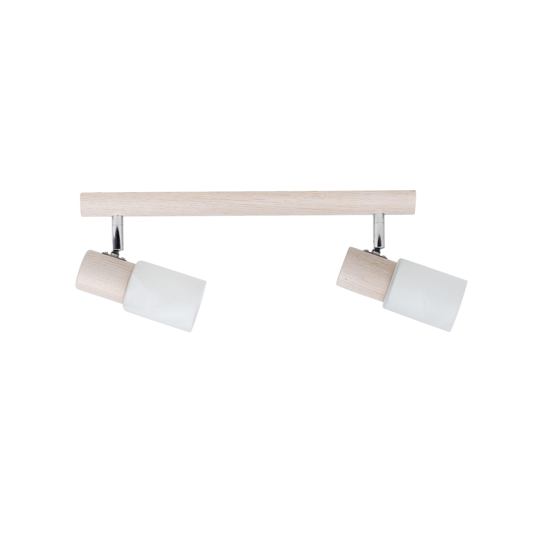 Double strip spot Kira Wood oak whitened / chrome / white E14 40W
