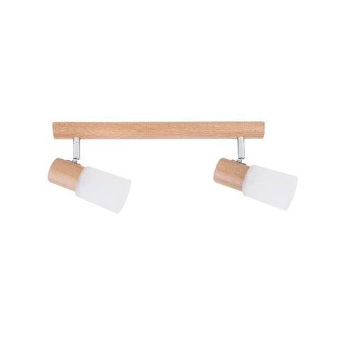 Podwójna Listwa spot Kira Wood dąb/chrom/biały E14 40W