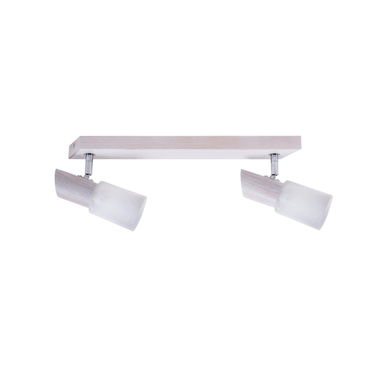Double strip spot Birgit dąb bielony / chrom / white E14 40W