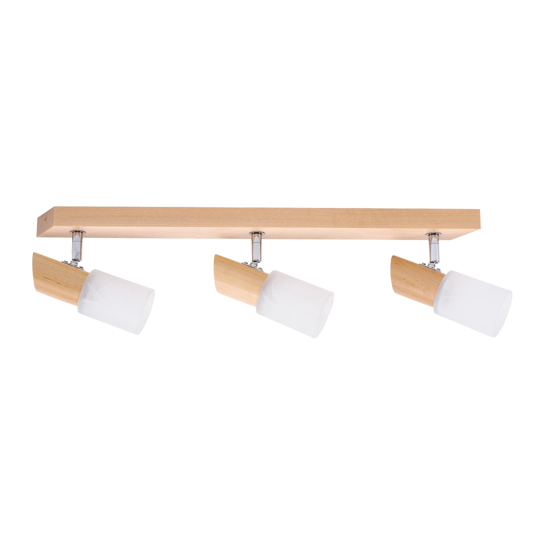 Triple strips spot Birgit brzoza / chrom / white E14 40W