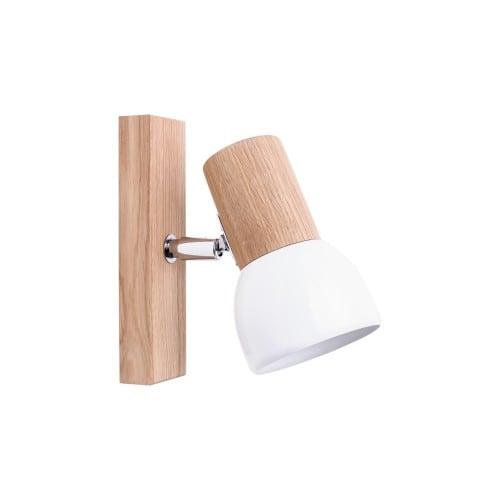 Kinkiet Svenda dąb olejowany/chrom/biały E27 60W