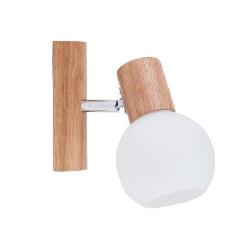 Wall lamp Karin oak / chrome / white E14 40W