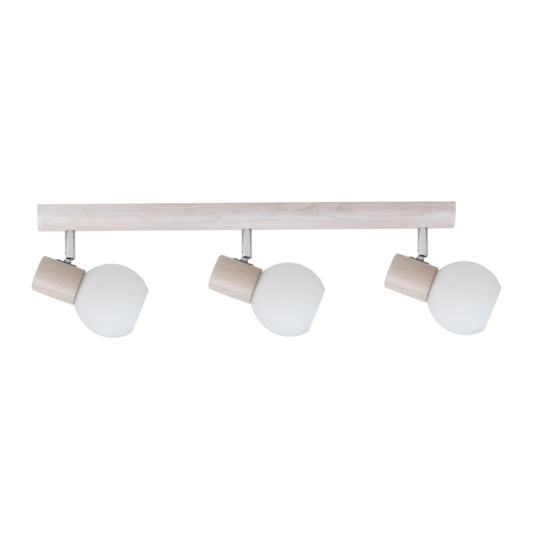 Triple strip spot Karin white oak / chrome / white E14 40W