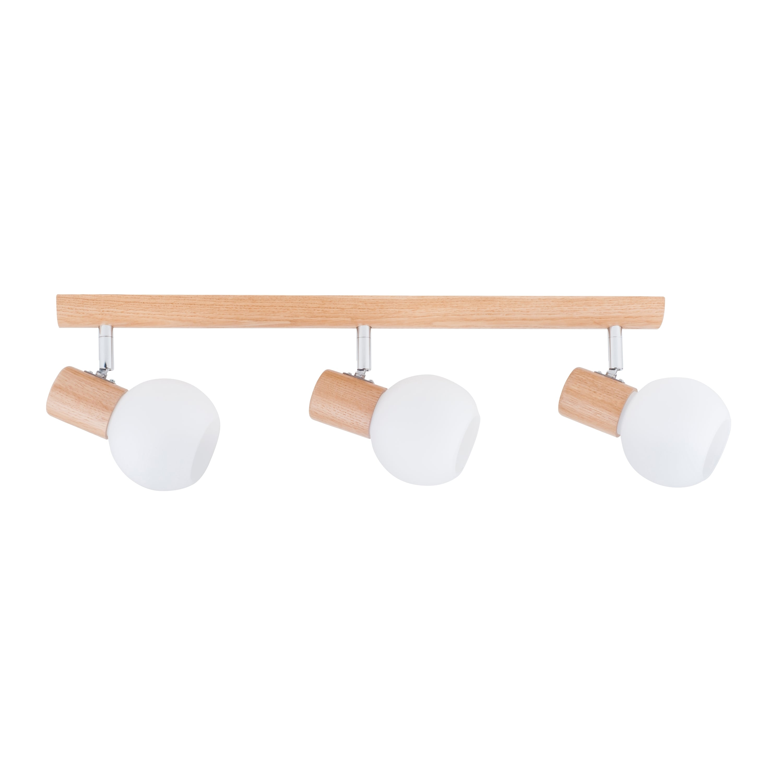 Triple strip spot Karin oak / chrome / white E14 40W