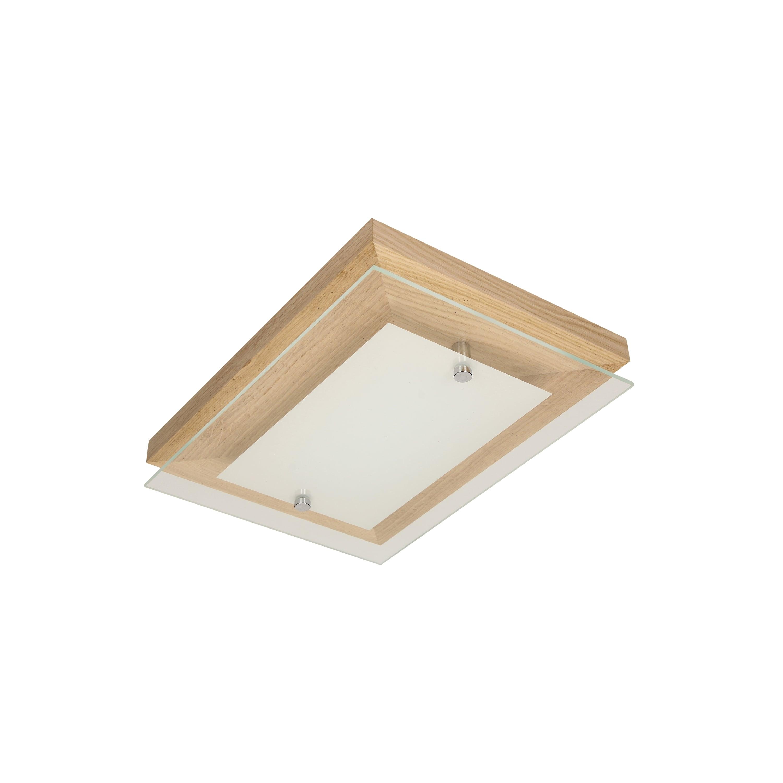 Ceiling Finn oak / chrome / white LED 10W