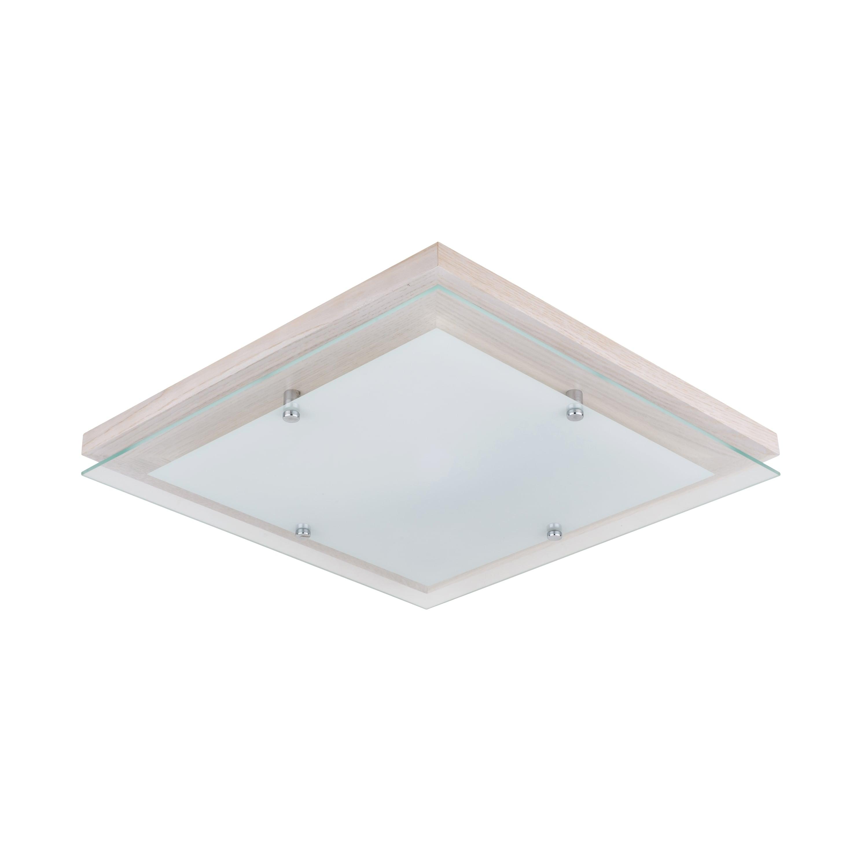 Plafon Finn kwadratowy dąb bielony / chrom / white LED 24W