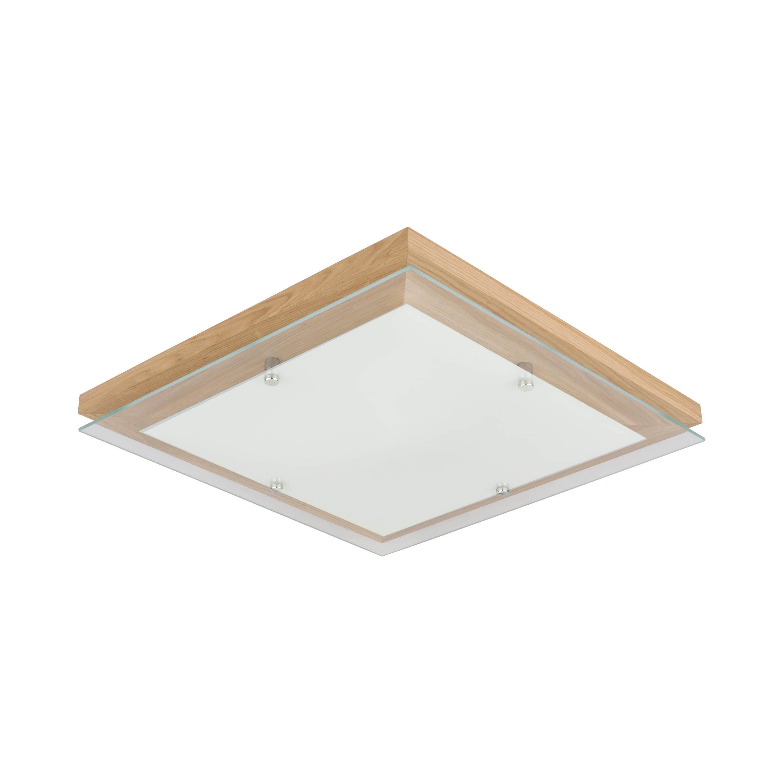 Ceiling Finn oak oiled / chrome / white LED 24W Square