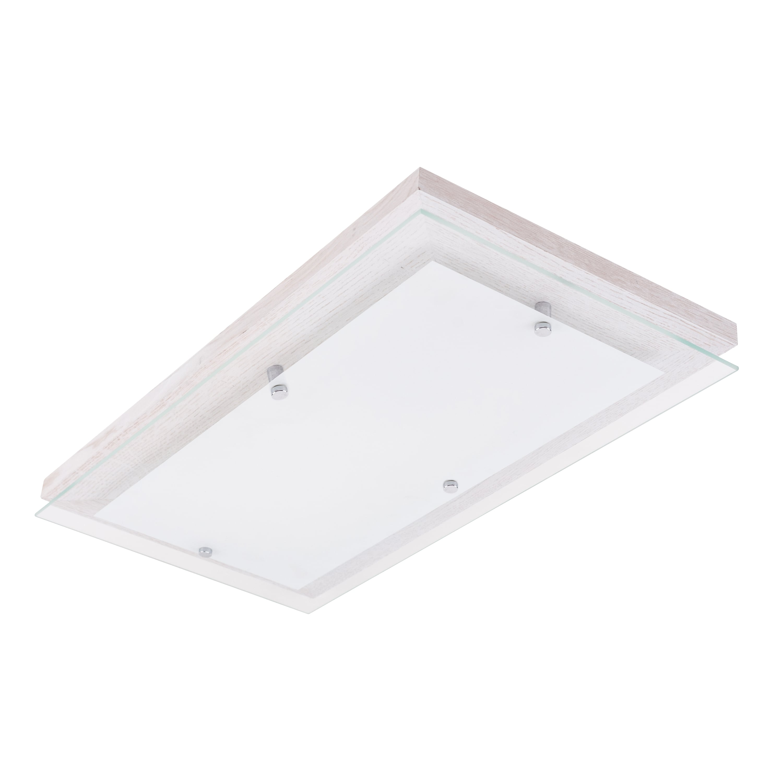 Plafon Finn rectangle oak, bleached / chrome / white LED 24W