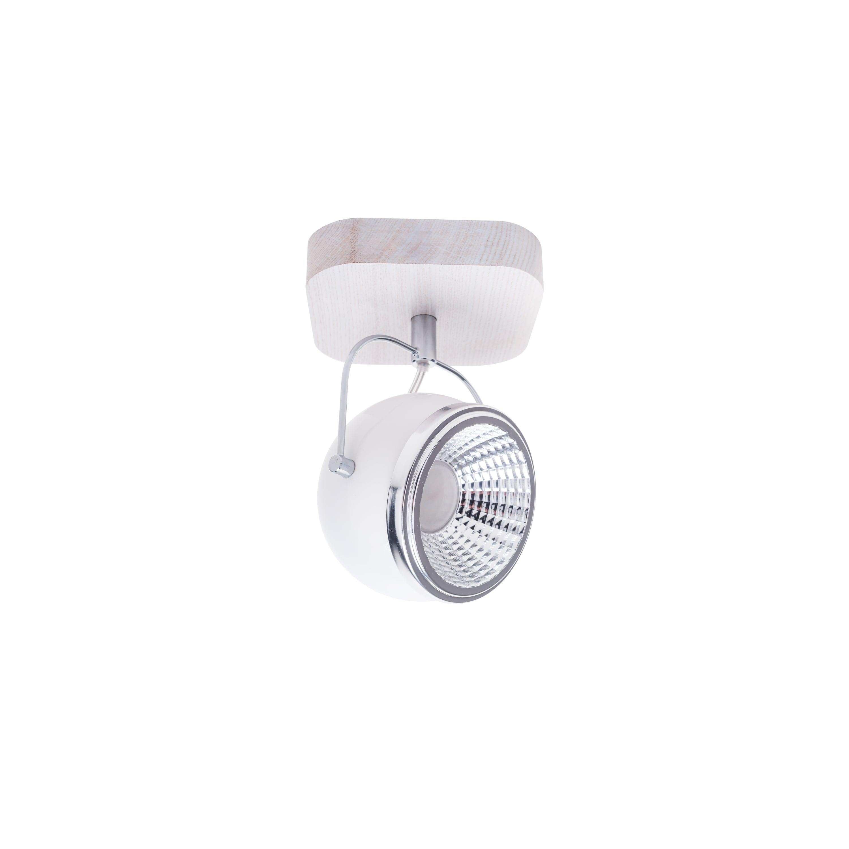 Wall lamp Ball Wood oak whitened / chrome / white LED GU10 5,5W