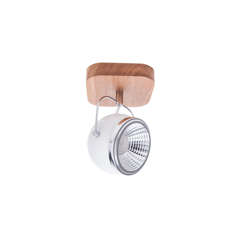 Wall lamp Ball Wood oak oiled / chrome / white LED GU10 5,5W