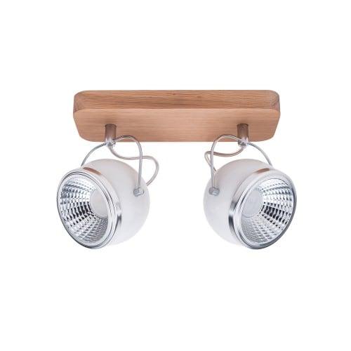 Spot strip spot 2 Ball Wood oak oil / chrome / white LED GU10 5,5W