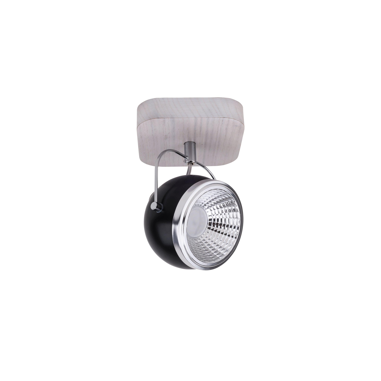 Wall lamp Ball Wood oak whitened / chrome / black LED GU10 5,5W