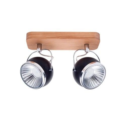 Strip spot 2 bulbs Ball Wood oak oil / chrome / black LED GU10 5,5W