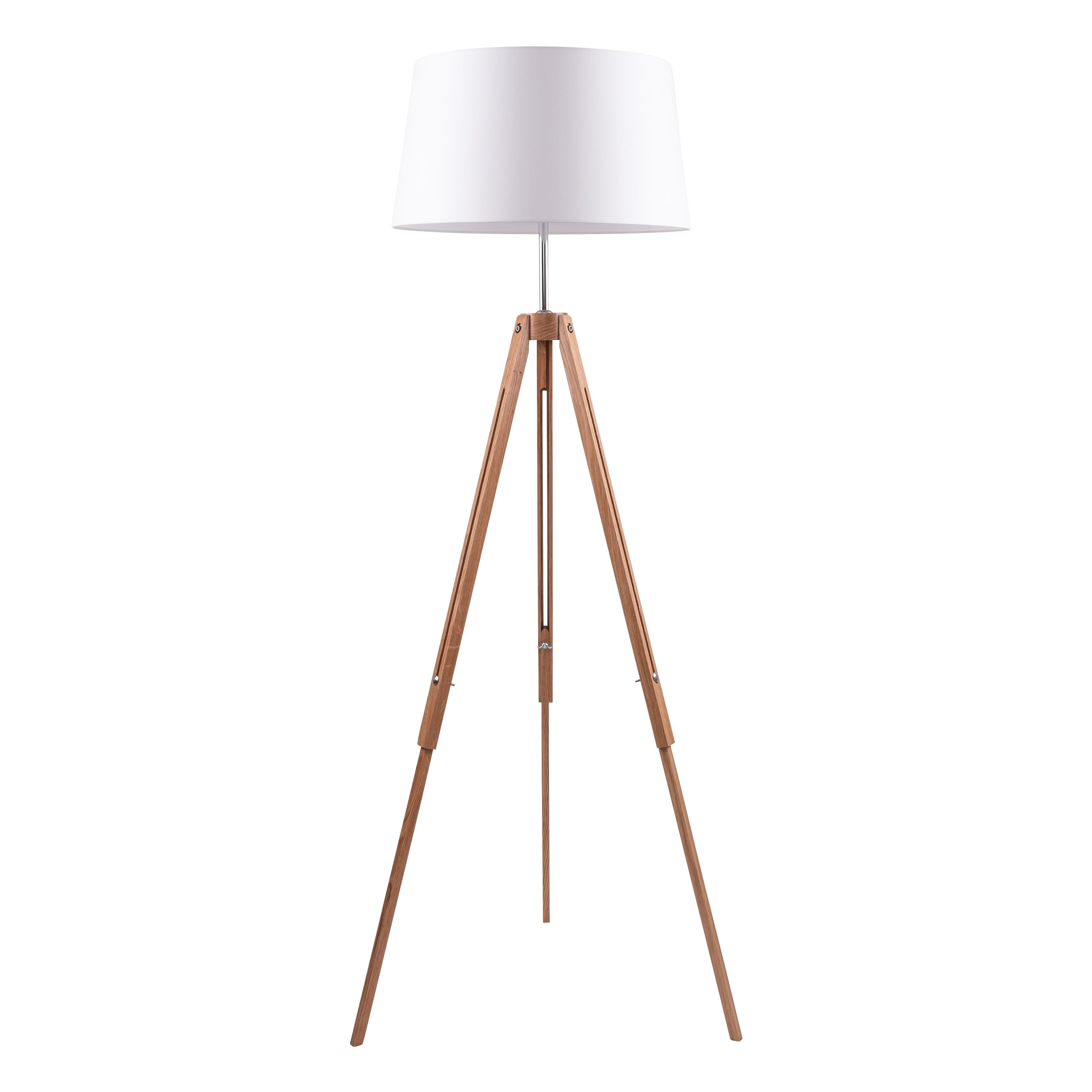 Floor lamp Tripod oak / chrome / white E27 60W
