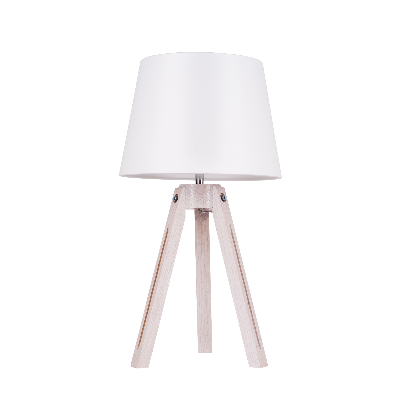 Table lamp Tripod dąb bielony / chrom / white E27 60W