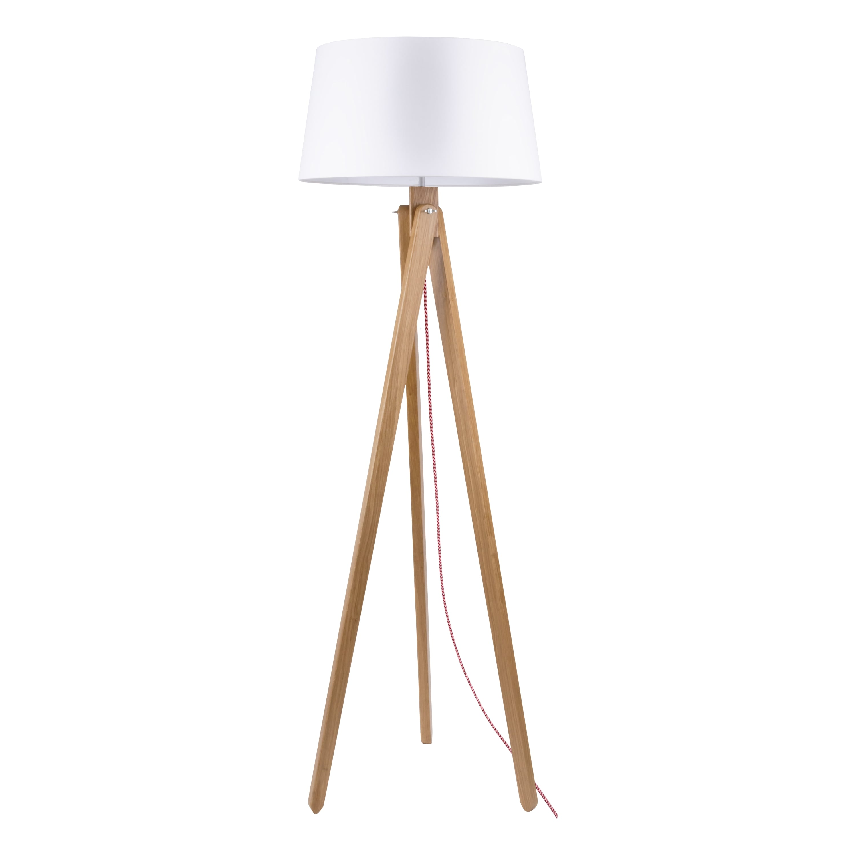 Floor lamp Rune oak / red-white / white E27 60W