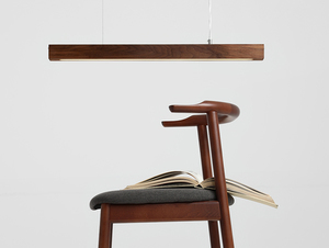 Hanging lamp LINE PLUS M WOOD LOW - walnut small 1