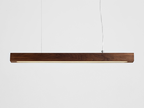 Hanging lamp LINE PLUS M WOOD LOW - walnut