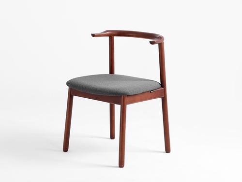 Retro KUBRIK desk chair, walnut, carbon