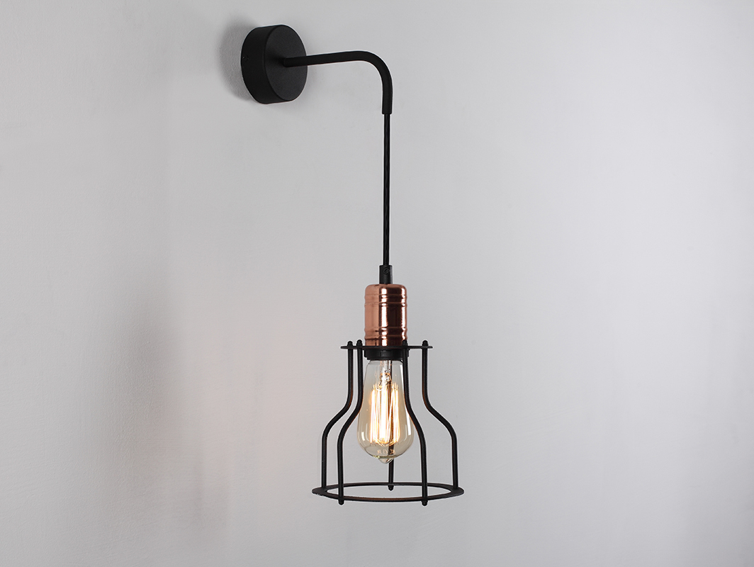 WORKER WIDE WALL wall lamp - black