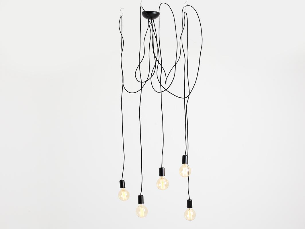 Hanging lamp SPINNE 5 - black