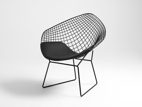 Krzesło DIAMENT - czarny, poducha czarna