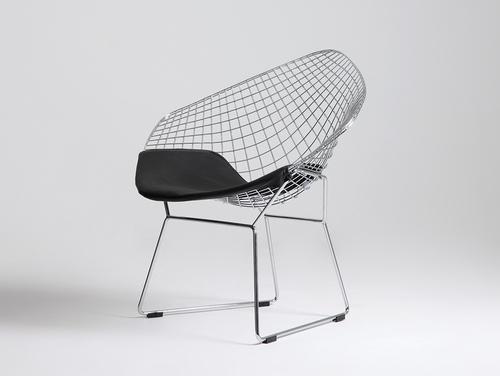 Krzesło DIAMENT - srebrny, poducha czarna