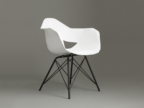 MATCH ARMS METAL BLACK chair - white