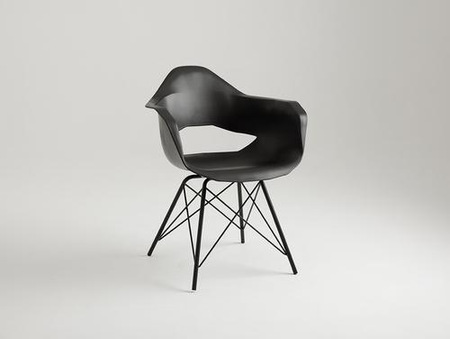 Krzesło MATCH ARMS METAL BLACK - czarny