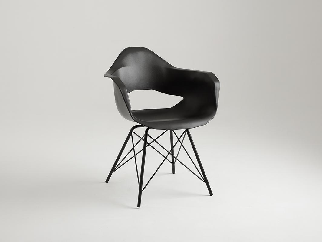 MATCH ARMS METAL BLACK chair - black