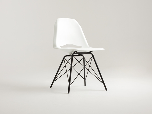 MATCH METAL BLACK chair - white