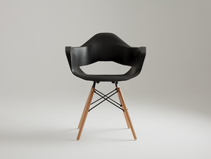 MATCH ARMS WOOD chair - black small 2