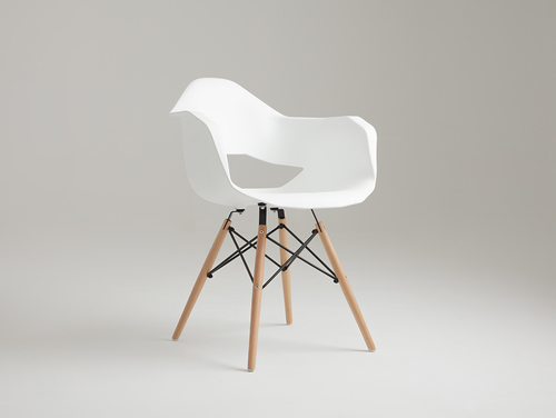 MATCH ARMS WOOD chair - white