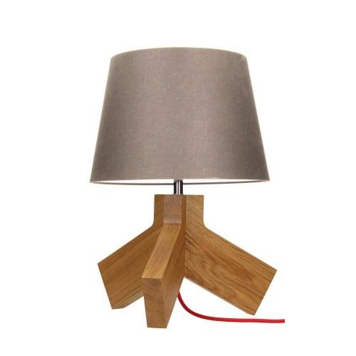 Lampa stołowa Tilda dąb/chrom/czerwony/szaro-brązowy E27 60W