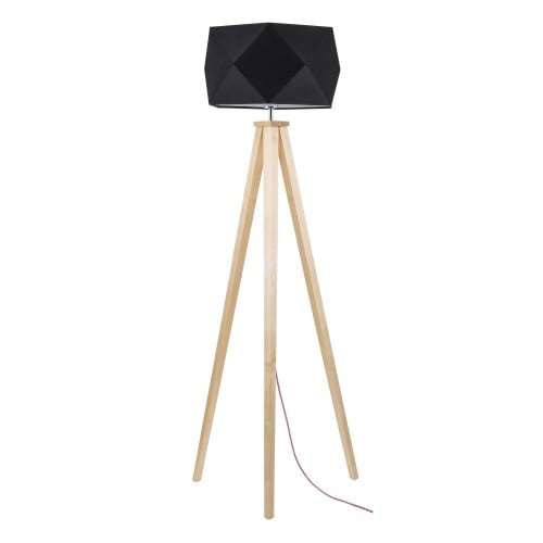 Wooden Floor Lamp with a black shade