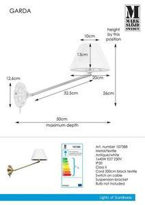 GARDA Wall lamp 1L Antique / White small 0