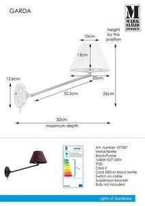 GARDA Wall lamp 1L Black / Purple small 1