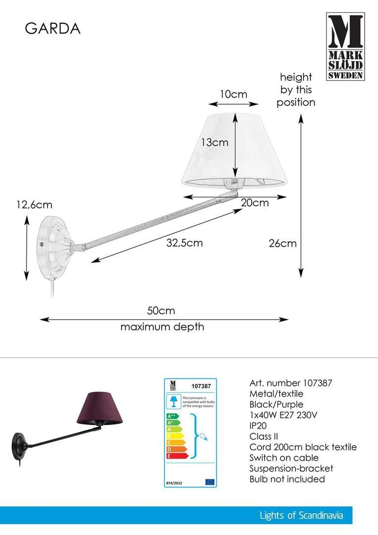 GARDA Wall lamp 1L Black / Purple