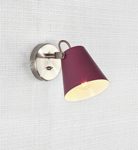 TRIBE Wall lamp 1L Burgundy / Steel
