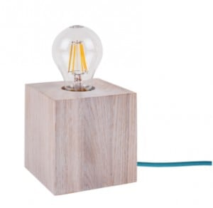 Table lamp Trongo bleached oak different colors of cable E27 60W small 3