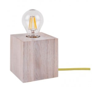 Table lamp Trongo bleached oak different colors of cable E27 60W small 4