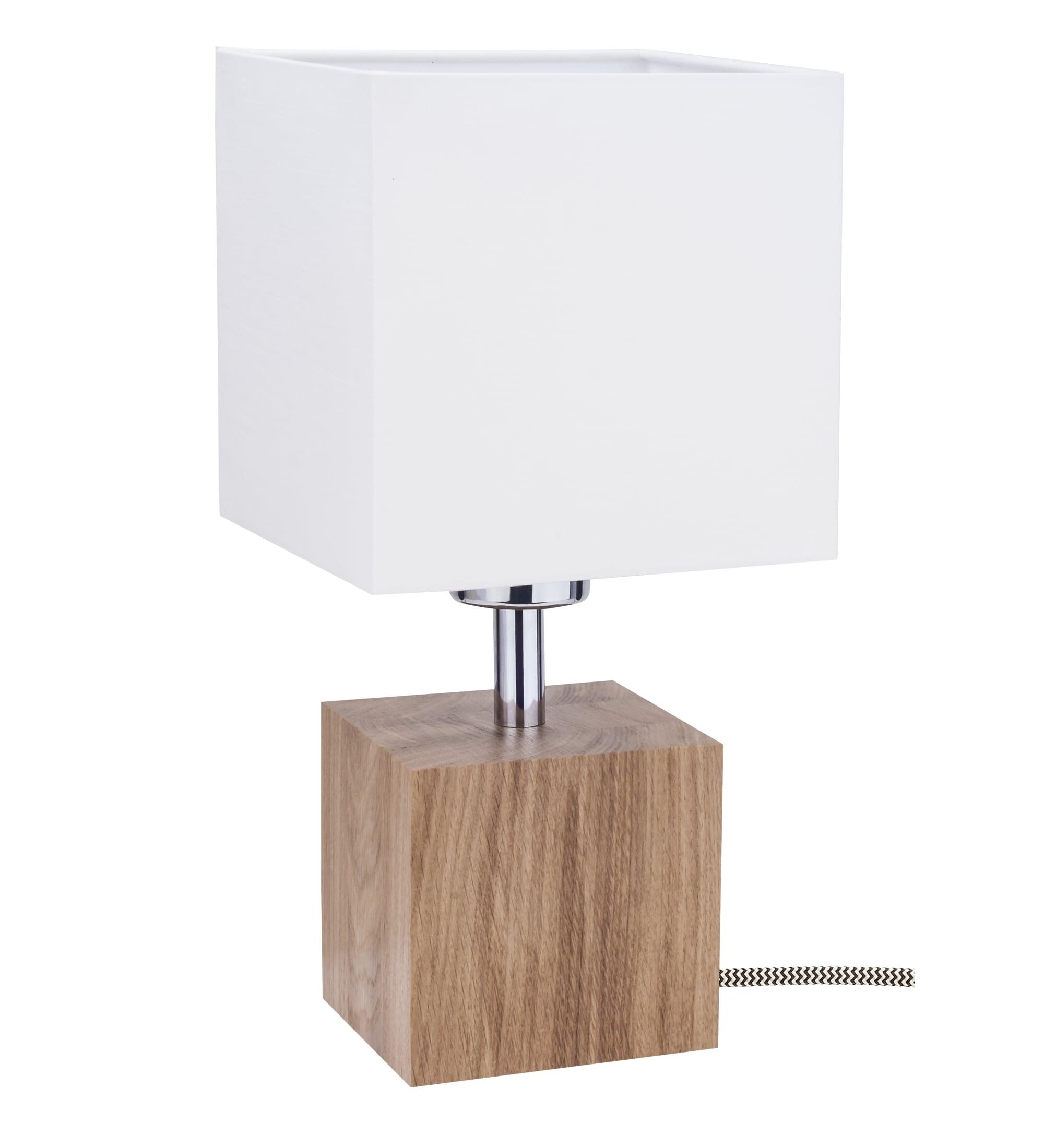 Table lamp Trongo dąb / czarno-biały / white E27 60W