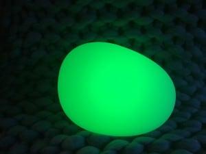 Solar lamp - Flattened sphere stone egg LED RGB colored small 1