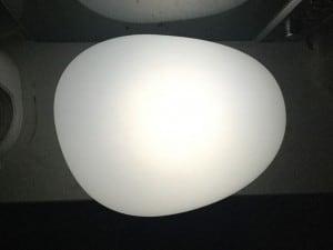 Solar lamp - Flattened sphere stone egg LED RGB colored small 2